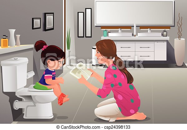 Girl doing potty training with her mother watching - csp24398133