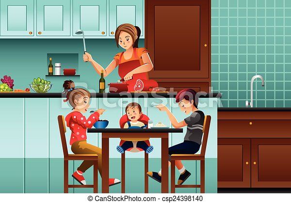 Kitchen Drawing For Kids eps vector of busy mother in the kitchen with her kids - a vector