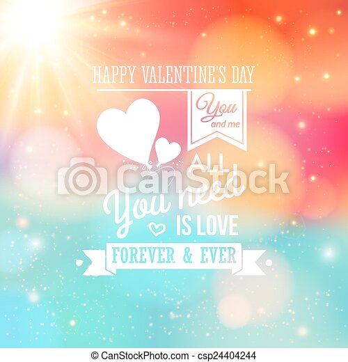 eps vector of valentine card typography style soft bokeh background with csp24404244