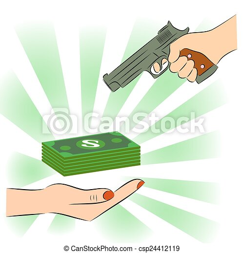 Vector Clip Art of Man pointing a gun at money csp24412119 ...