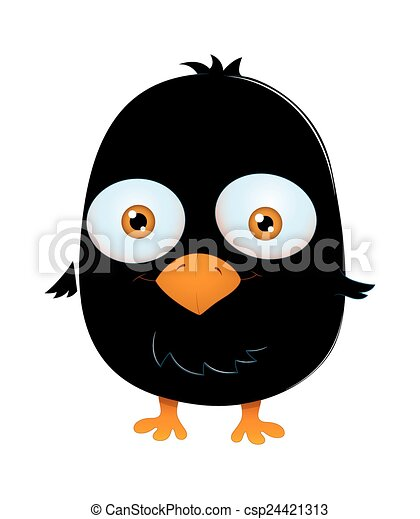 Vector Clip Art of Cute Scared Black Bird - Cartoon Cute Funny ...