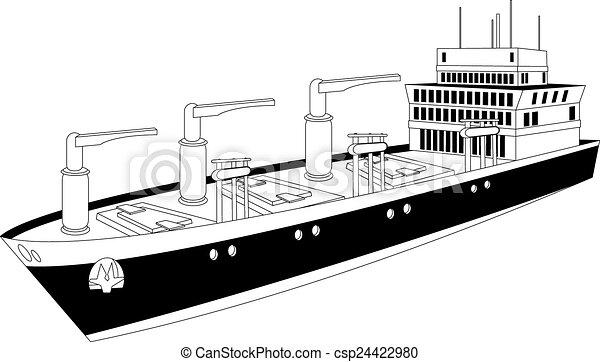 Vector of cargo ship - Illustration of a cargo ship of dry ...
