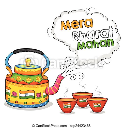Clip Art Vector of India kitsch art of kettle and clay ...