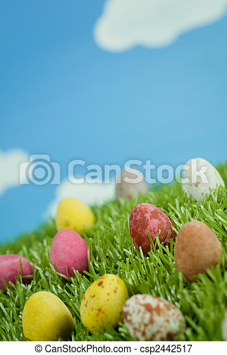 Easter Eggs in Spring - csp2442517