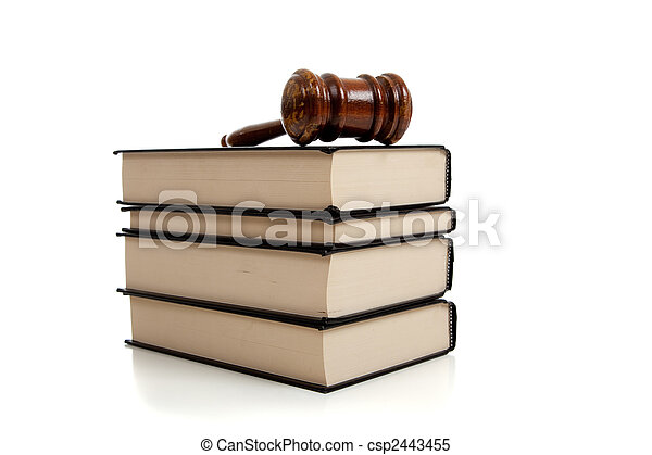 Wooden gavel on top of a stack of law books - csp2443455