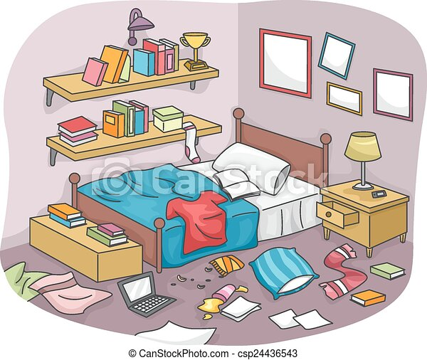 Eps vector of messy room illustration of a disorganized for Chambre en desordre