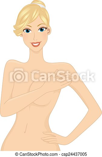 Vector Clipart of Naked Woman for Checkup - Illustration of a ...