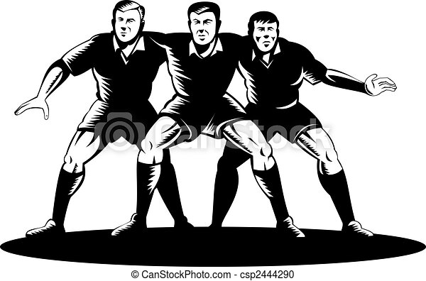 Rugby front row scrum - csp2444290