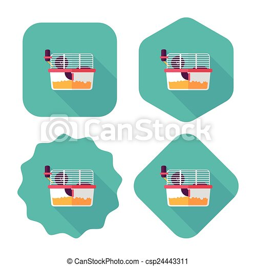 vektor clip art von haustier maus k fig wohnung ikone langer schatten csp24443311. Black Bedroom Furniture Sets. Home Design Ideas