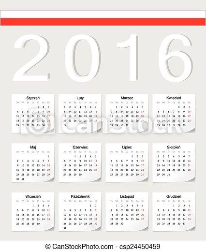 ポーランド語, 2016, カレンダー ...