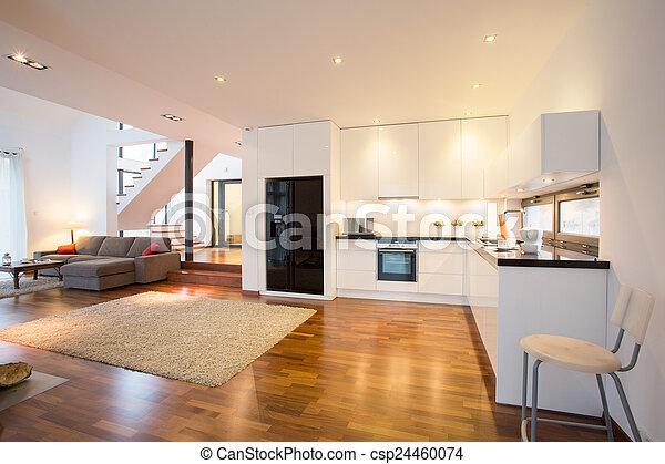 Plaatje van keuken, open, kamer, tekening - open, keuken, en ...