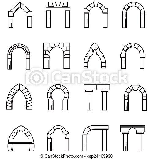 Vectores de iconos colecci n arcos vector negro l nea - Vano arquitectura ...
