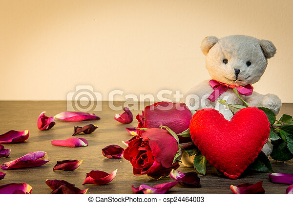 Roses and teddy bear for love in valentine, vintage style.