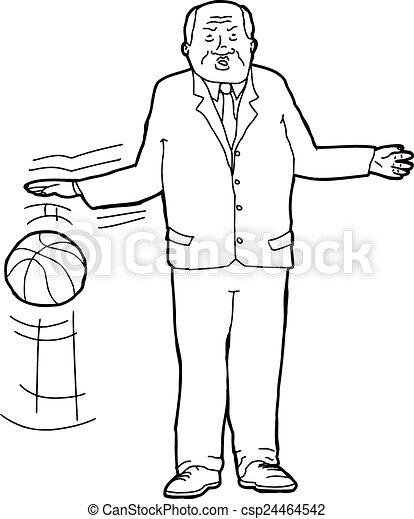 EPS Vector of Businessman Bouncing Basketball - Cartoon outline of ...