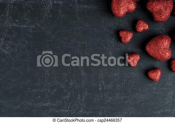 corações,  valentines,  chalkboard, vermelho, Dia - csp24466357