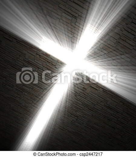 Christian cross of light - csp2447217