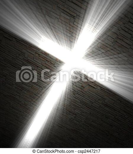 Christian cross of light - csp2447217