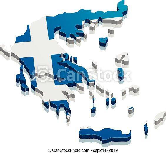 Vector Clip Art de mapa grecia  detallado ilustracin de un