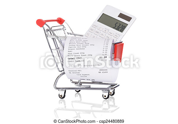 Shopping Trolley With Receipts And Calculator - csp24480889
