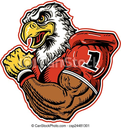 Vecteur de aigle, football, mascotte - musculaire, aigle, football ...