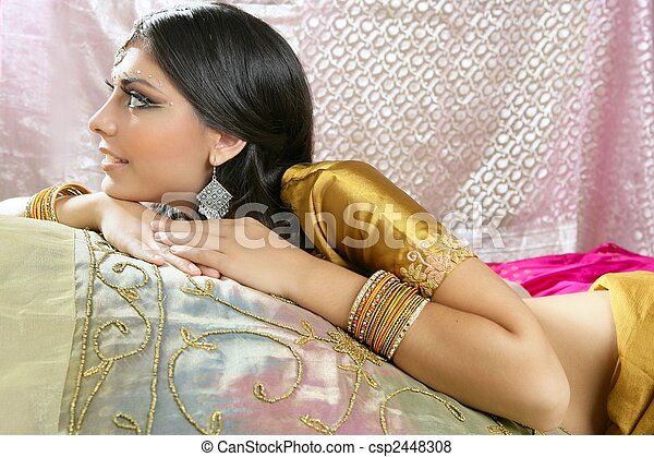Beautiful indian brunette traditional fashion style - csp2448308