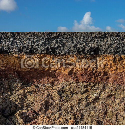 Stock photography of the curb erosion from storms to for 6 layers of soil