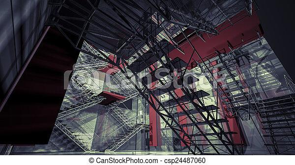 Stock foto 3d interieur moderne industriebedrijven interieur trap schoonmaken ruimte - Model interieur trap ...