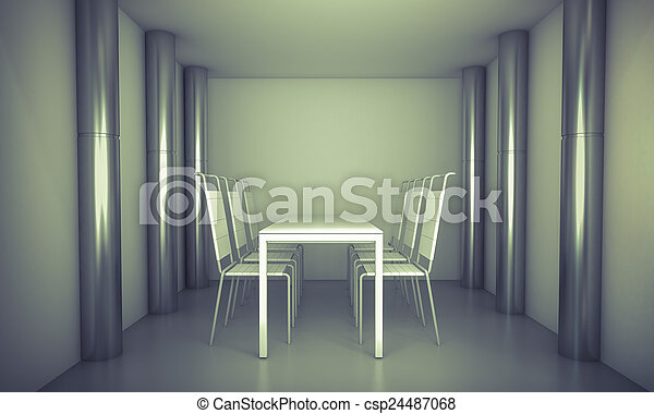 Luxury. Clean diner room, chairs and white table over clean spa