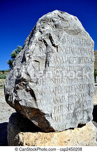 Archaeological site of Gortyn, Crete, Greece. Ancient Greek writing. - csp2450208