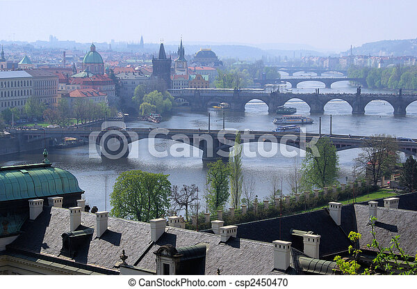 Prague bridges aerial view 13 - csp2450470