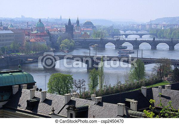 Prague bridges aerial view 13 - csp2450470