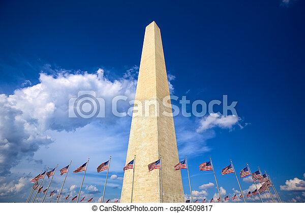 Washington Monument with american flags, Washington DC