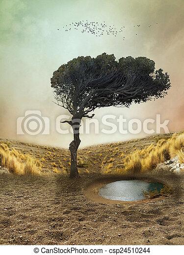 fantasie, landschaftsbild - csp24510244