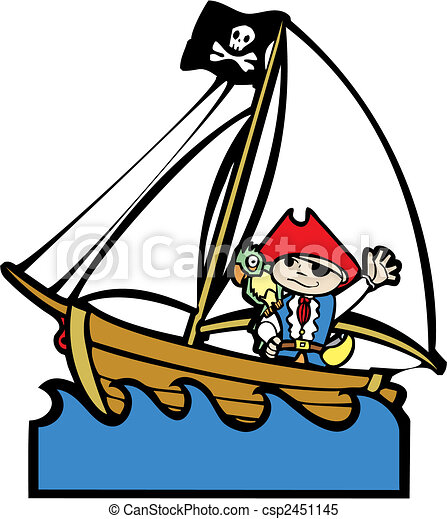 Clipart Vector of Pirate Boat with Boy #1 - Simple children's boat ...
