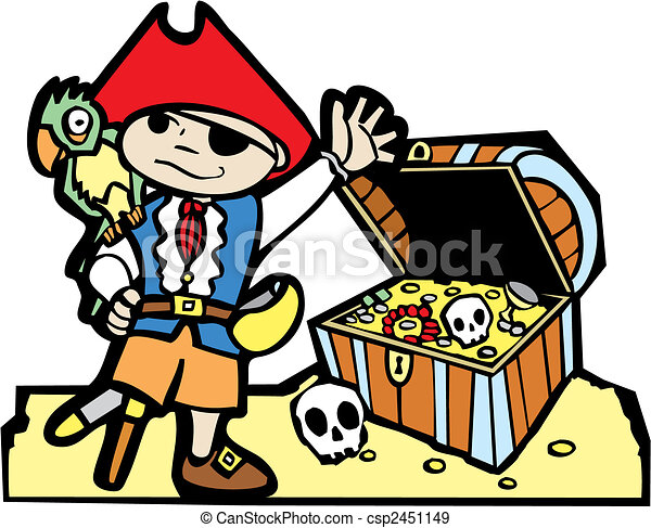 Pirate with Treasure Chest - csp2451149