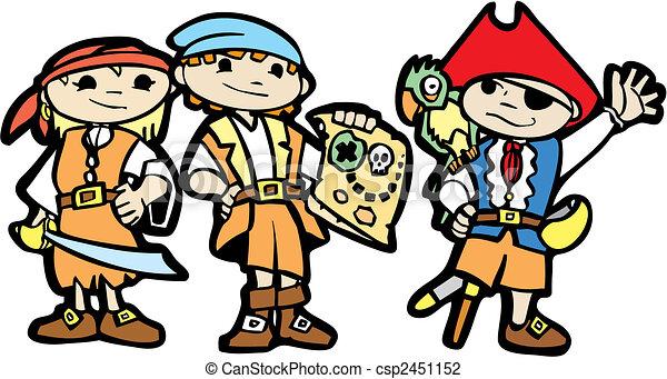 Children in Pirate Costumes - csp2451152