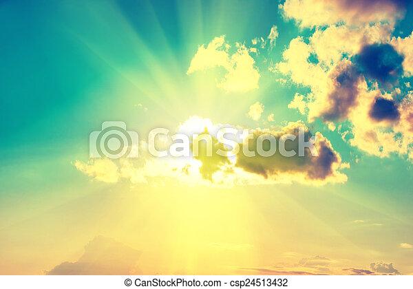 Blue clouds, sun and sky