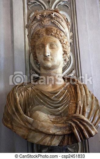 Statue Bust of Empress Livia, Wife of Augustus Caesar, Capitoline Museum Rome Italy - csp2451833