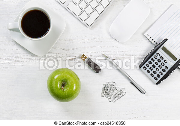 Desktop with business objects and snack foods
