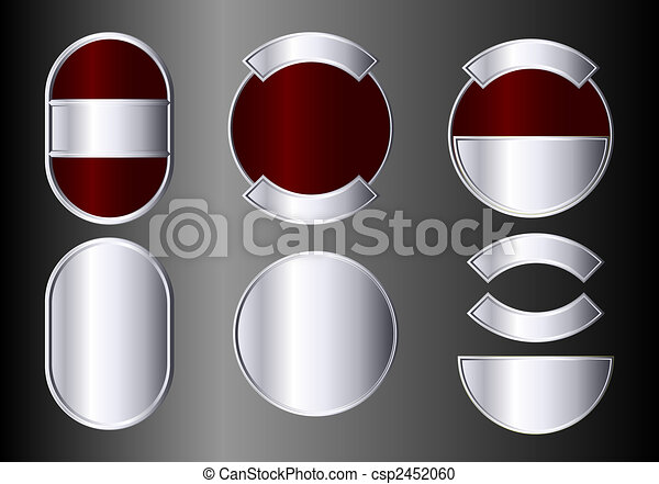 Set of red and silver badges - csp2452060