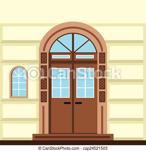 Vector Clipart of Flat vector illustration of commerce building ...