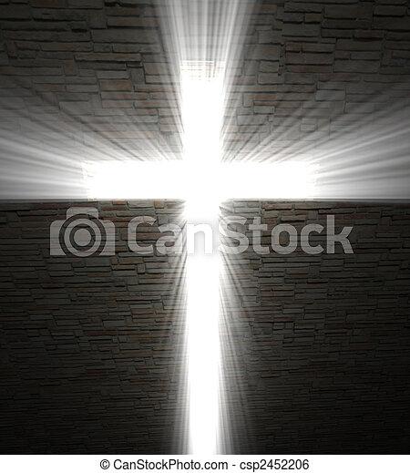 Christian cross of light - csp2452206