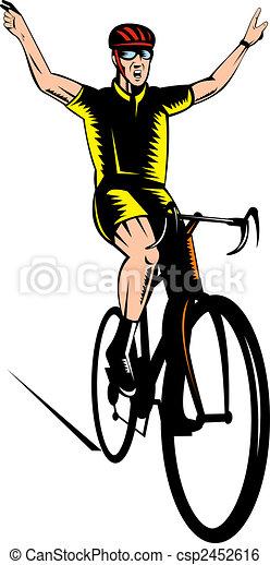 Illustration de cycliste clignotant victoire signe - Cycliste dessin ...