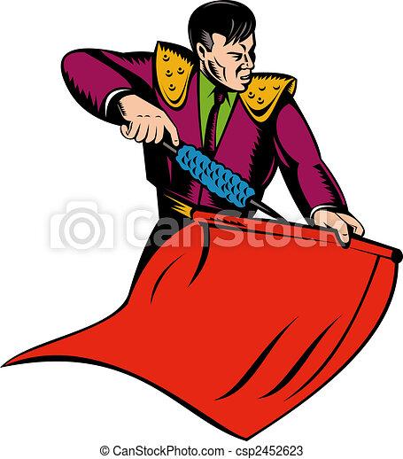 Dibujos de Matador, o, torero, rojo, capa - vector, Ilustración ...
