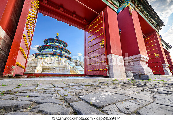 Beijing, China at The Temple of Heaven\'s Altar of Prayer for Good Harvests.