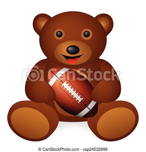 - Teddy bear football ball on a white... csp24532699 - Search Clip ...