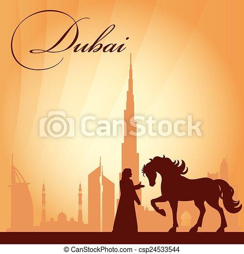 Dubai city skyline silhouette background - csp24533544