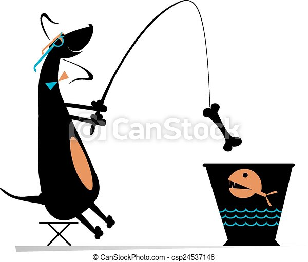 EPS Vector of Funny fishing - Comic dog fishes in a bucket ...