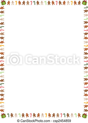 Gingerbread men and candy cane border - csp2454859