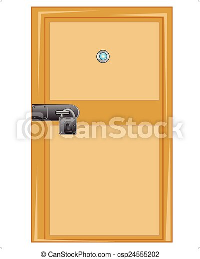 Vector clipart of wooden door with external lock wooden door with outboard csp24555202 - Locked door clipart ...